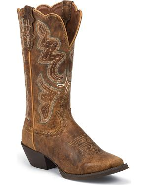 Justin Stampede Light Coffee Cowgirl Boots - Square Toe