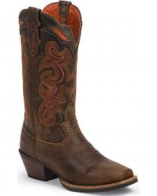 Justin Women's Silver Collection Light Coffee Waxy Cowgirl Boots - Square Toe
