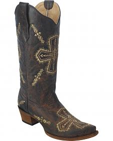 Circle G Women's Cross Embroidered Cowgirl Boots - Snip Toe