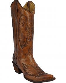 Circle G Women's Burnished Cross Cowgirl Boots - Snip Toe