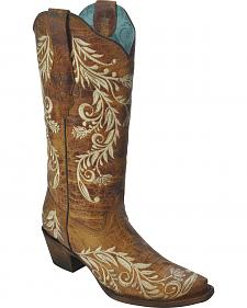 Corral Women's Side Embroidery Boots - Snip Toe