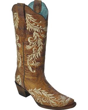 Corral Womens Side Embroidery Boots - Snip Toe