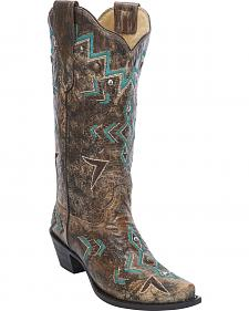 Corral Women's Embroidered Studded Cowgirl Boots  - Snip Toe