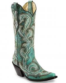 Corral Women's Shaded & Studded Cowgirl Boots - Snip Toe