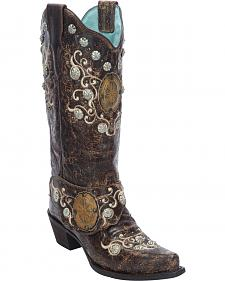 Corral Women's Concho Harness Cowgirl Boots - Snip Toe