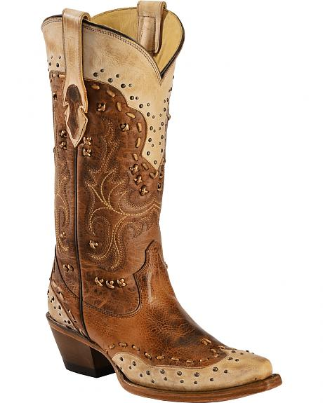 Corral Women's Studded Burnished Cowgirl Boots - Snip Toe