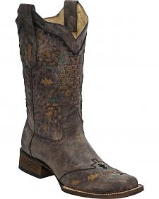Corral Women's Laser Woven Cowgirl Boots - Square Toe