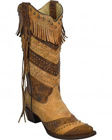Corral Women's Stripes and Fringe Cowgirl Boots - Snip Toe