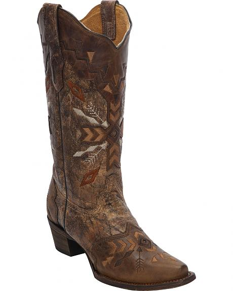 Corral Women's Tribal Embroidered Cowgirl Boots - Snip Toe