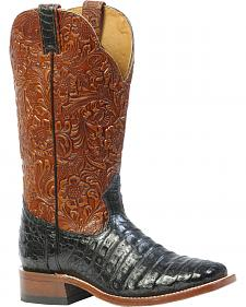 Boulet 3-Piece Black Caiman Floral Cowboy Boots - Square Toe