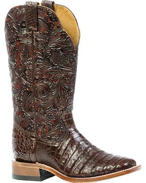 Boulet 3-Piece Chocolate Caiman Floral Cowgirl Boots - Square Toe