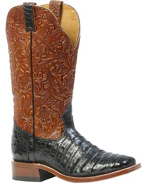 Boulet 3-Piece Black Caiman Floral Cowgirl Boots - Square Toe