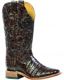 Boulet 3-Piece Caiman Floral Cowgirl Boots - Square Toe