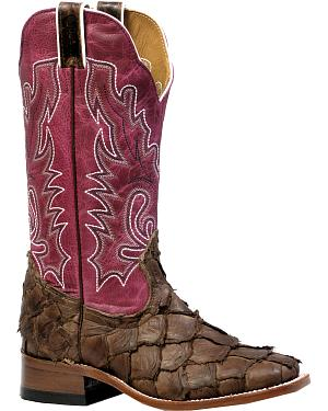 Boulet Pirarucu Seal Brown Magenta Cowgirl Boots - Square Toe