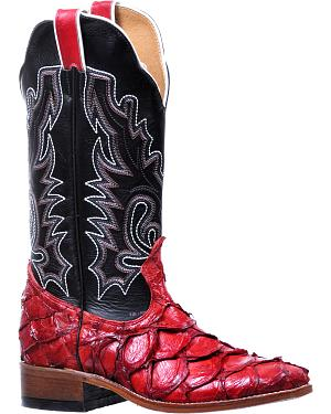Boulet Womens Pirarucu Red Shiny Cowgirl Boots - Square Toe