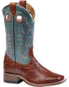 Boulet Smooth Brandy Ostrich Cowgirl Boots - Square Toe