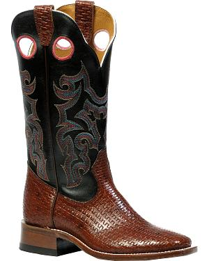 Boulet Canestro Cognac and Black Mercedez Cowgirl Boots - Square Toe