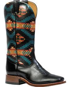 Boulet Torino Calf Black Aztec Cowgirl Boots - Square Toe