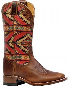Boulet Grizzly Sand Aztec Cowgirl Boots - Square Toe
