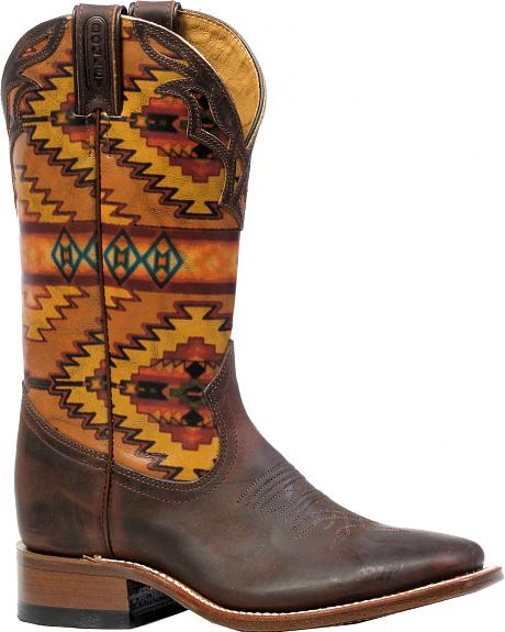 Boulet Laid Back Copper Aztec Cowgirl Boots - Square Toe