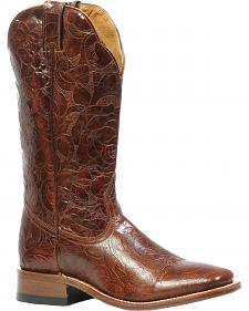 Boulet Rustic Eagle Brandy Cowgirl Boots -  Square Toe