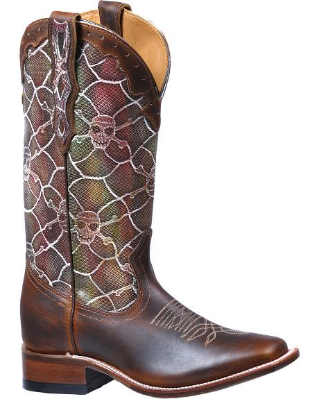 Boulet Fort Worth Miel Catrina Fire Skull Cowgirl Boots - Square Toe