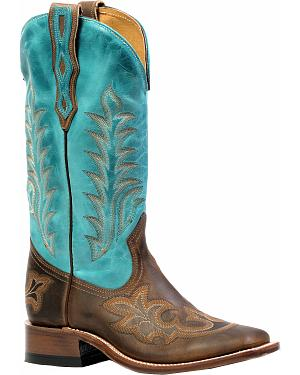 Boulet Hillbilly Golden West Turqueza Cowgirl Boots - Square Toe
