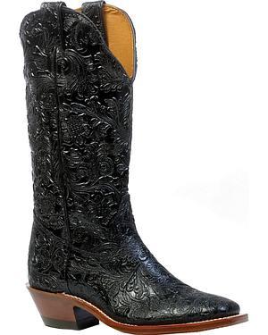 Boulet Dankan Black Cowgirl Boots - Square Toe