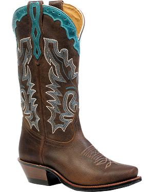 Boulet Selvaggio Wood West Turqueza Cowgirl Boots - Snip Toe