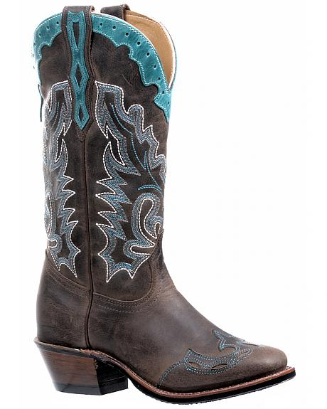Boulet Selvaggio Wood West Turqueza Vintage Cowgirl Boots - Square Toe
