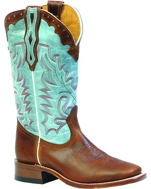 Boulet Damiana Moka Organza Dezy Cowgirl Boots - Square Toe