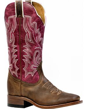 Boulet Hillbilly Golden Lava Magenta Cowgirl Boots - Square Toe