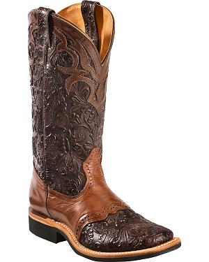 Boulet Dankan Brown Ranger Chestnut Floral Cowgirl Boots - Square Toe
