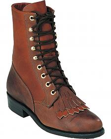 Boulet Shoulder Buffalo Bill Matte Lace Up Boots - Round Toe