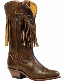 Boulet Women's Leather Fringe Cowgirl Boots - Medium Toe