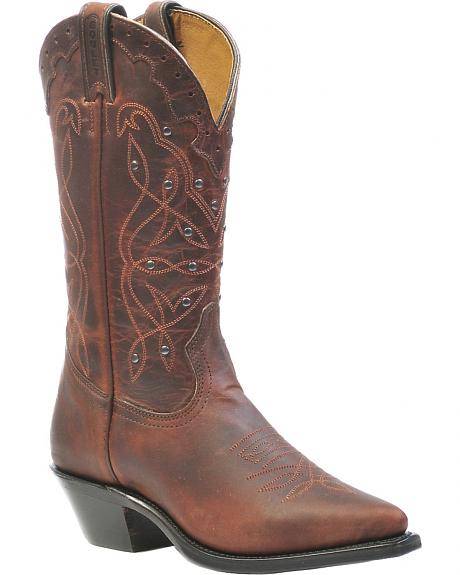 Boulet Studded Laid Back Copper Cowgirl Boots - Pointed Toe