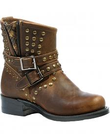Boulet Hillbilly Golden Studded Harness Short Boots - Round Toe