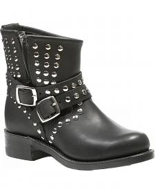 Boulet Everest Black Studded Harness Short Boots - Round Toe