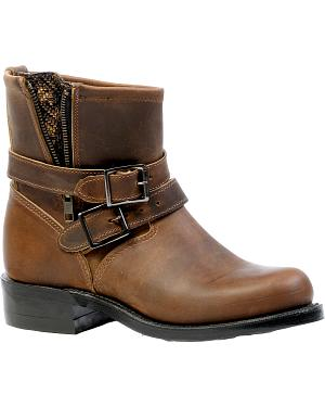 Boulet Hillbilly Golden Two Buckle Short Boots - Round Toe