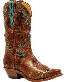 Boulet Puma Madera West Turqueza Inlay Cowgirl Boots - Snip Toe