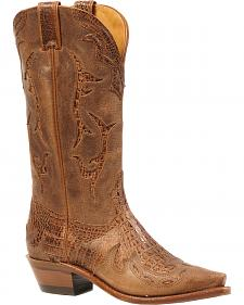 Boulet Bambino Croc Cognac Selvaggio Inlay Cowgirl Boots - Snip Toe