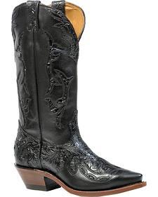 Boulet Dankan Black Torino Calf Inlay Cowgirl Boots - Snip Toe