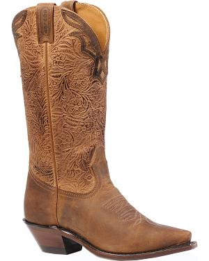 Boulet Hillbilly Golden Crazy Flowers Cowgirl Boots - Snip Toe