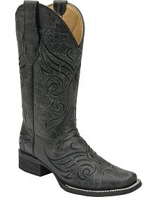 Circle G Women's Crackle Cowgirl Boots - Square Toe