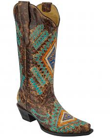 Corral Women's Turquoise Diamond Cowgirl Boots - Snip Toe