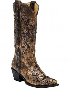 Corral Women's Studded Pull Strap Cowgirl Boots - Snip Toe