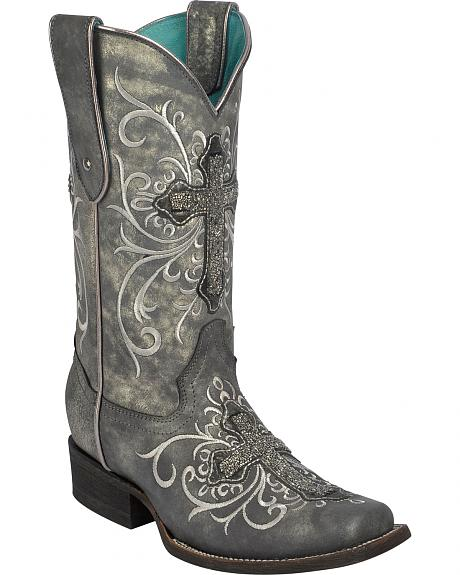 Corral Women's Crystal Cross Embroidered Cowgirl Boots - Square Toe