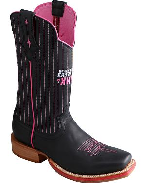 Twisted X Womens Tough Enough to Wear Pink Red River Cowgirl Boots - Square Toe