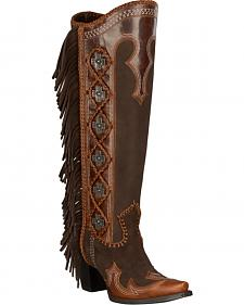 Lane for Double D Ranch Domingo Tall Fringed Suede Boots - Snip Toe