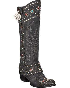 Lane for Double D Ranch Rough Rider Studded Cowgirl Boots - Snip Toe